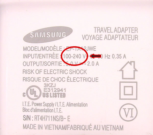 TravelCord Plus Sample Voltage Image Samsung