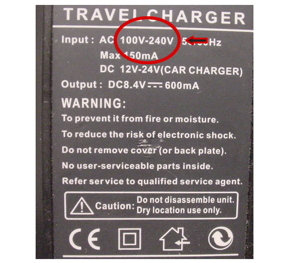 TravelCord Plus Sample Voltage Information Travel Charger